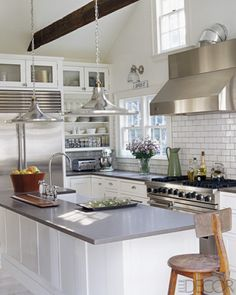 lovely subway tiles splashback via Elle Decor