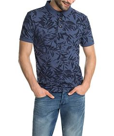 edc by ESPRIT Herren Poloshirt mit Hawaii Muster, Gr. Small, Blau (DEEP BLUE 442)
