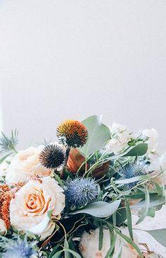 Modern and Elegant Wedding Florals l Blue Thistle Bouquet l