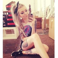 Girly girl with tattoos