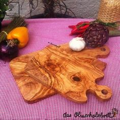 #Olive #wood  #wooden #cutting #board with #handle, set of two for #herbs, #vegetables and #fruits