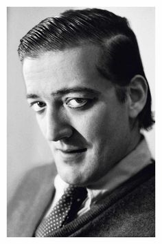 """Stephen Fry photographed by Simon Annand, 1988.  Skinnier by far but cute then and now.  """"Kingdom"""" is fun."""