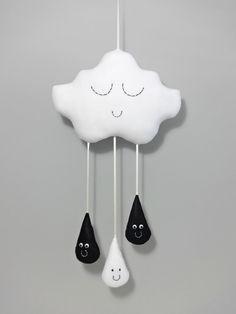 CLOUD & RAINDROPS MOBILE White Rain Cloud black by Claireoncloud9