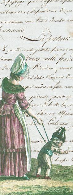 Antique letter with fashion plate Trouvais