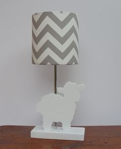 Lamb Lamp-  Handmade Wooden Animal Desk or Table by PerrelleDesigns. adorable for a lamb theme baby room
