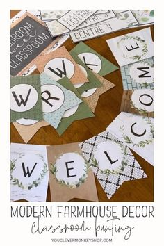 This MODERN FARMHOUSE Bunting brings old and new elements to give your classroom the perfect farmhouse feel this back to school season. Main colors of B W, olive and sage greens, pale mint, toast and toffee browns are paired with earthy elements of wood and shiplap, chalkboard, tiles, paper, fabric and concrete. Plenty of botanical prints in leafy greens and hand drawn black and white complete the pack. This bunting pack is effortlessly timeless bringing your favorite style into class! Mint Classroom, Classroom Bunting, Classroom Layout, Classroom Labels, Classroom Displays, Classroom Themes, Classroom Organization, Teaching Art, Teaching Tools