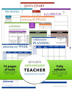 This organization kit contains what you need to get and keep yourself up to date. Includes weekly, monthly, and yearly planner, arts-integration supply order form, data collection form, pd note form, conference form, and substitute feedback forms. Made specifically with the arts-focused teacher in mind!