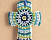 Two Sided Hand Painted Cross Colorful Ceramic Blues and Lime