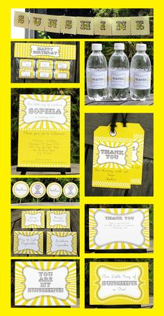 Sunshine Party Invitation & Printable Party Collection, EDITABLE Text PDF file - you personalize at home with Adobe Reader. $14.95, via Etsy.