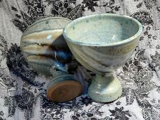 Bob Culloden - Scottish Pottery - Pair of Goblets - Green and Blue 8.5cm High