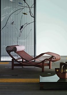 """scandinaviancollectors: """"CHARLOTTE PERRIAND, Tokyo-chaise longue, new production by Cassina, originally designed during her trip to Japan, Material bamboo veneer and bamboo. Image copyright by Cassina. Charlotte Perriand, Outside Furniture, Sofa Furniture, Furniture Design, Chinese Interior, Asian Interior, Home Living, Living Room Modern, Living Rooms"""