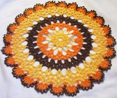 "12"" Thanksgiving doily harvest turkey fall autumn crochet thread home decor unique gift on Etsy, $17.50"