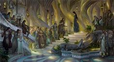 Beren and Luthien in the Court of Thingol + Melian by DonatoArts.deviantart.com on @DeviantArt
