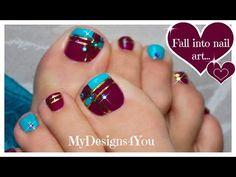 Color Block Toenail Art   Purple and Blue Pedicure ♥ Diseño de Uñas de Pies - YouTube