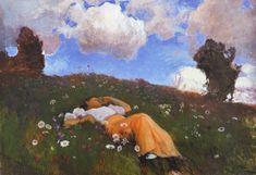 Eero Järnefelt (Finnish, Saimi in the Meadow, 1892 Oil on canvas Art Nouveau, I Ching, Grain Of Sand, Art And Illustration, Illustrations, Vincent Van Gogh, Impressionism, Oil On Canvas, My Arts