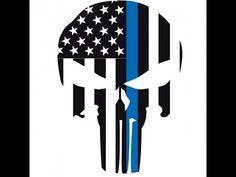 Svg Dxf Eps Cut File Police Punisher Skull Thin Blue