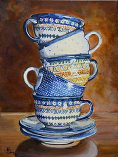 Teacups Stacked: Polish Pottery XCI - by Heather Sims from Paintings Oils Acrylics Art Gallery