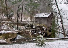 Snow on the Stone Mountain grist mill. Photo by Gornton Tulog.