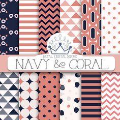 "Geometric Digital Paper: ""Navy & Coral Digital Paper"" with geometric background, geometric patterns, chevron, stripes, confetti in pink,blue #red #blue #digitalpaper #scrapbookpaper #partysupplies #summerdigitalkit #planner"