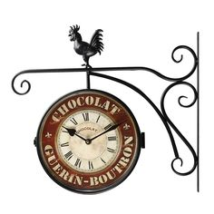 """Vintage-Inspired Round """"Chocolate"""" Double-Sided Hanging Wall Clock"""