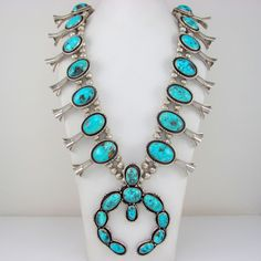 Collectible Navajo MARK CHEE Sterling Turquoise Squash Blossom Necklace G