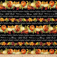 From Timeless Treasures, this cotton print fabric features stripes of autumn bounties and inspirational sayings to remind us to be grateful. Perfect for quilting, apparel and home decor accents. Colors include black, white, shades of grey and orange, cream, taupe, metallic gold, shades of green and red and brown.