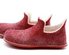 Handmade felted merino wool loafers winter slouch shoes unisex women men parents gifts