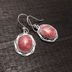 "Sterling Silver & Rhodochrosite Earrings Stamped ""Sterling""  This is not a stock photo. The image is of the actual article that is being sold  Sterling silver is an alloy of silver containing 92.5% by mass of silver and 7.5% by mass of other metals, usually copper. The sterling silver standard has a minimum millesimal fineness of 925.  All my jewelry is solid sterling silver. I do not plate.   Hand crafted in Taxco, Mexico.  Will ship within 2 days of order. Jewelry Earrings"