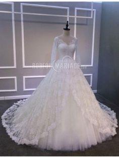 Magnifique robe de mariée 2016 col en V en dentelle et tulle à 3/4 manches