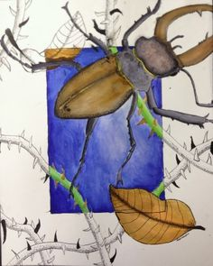 Beyond the Border Art Lesson – Create Art with ME Jenseits der Grenze Kunstunterricht 7th Grade Art, Middle School Art Projects, Atelier D Art, Ecole Art, Insect Art, Drawing Projects, Wow Art, High Art, Elements Of Art
