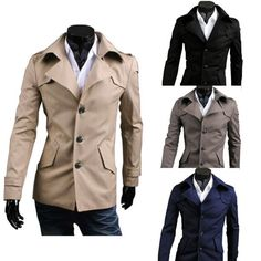 $30.98 / #Mens #Coats Slim Oblique Pocket Single Breasted Simple Trench #Coat - FREE SHIPPING
