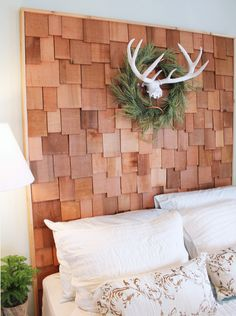 Awesome headboard idea using cedar shakes  from the The Bachman's 2013 Holiday Ideas House