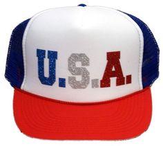 U.S.A. USA Sparkle Glitter Bling United States of America Trucker Hat