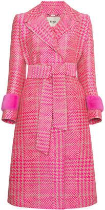 Fendi Houndstooth double breasted coat with mink cuff Sold Out at Farfetch Pink Fashion, Fashion Looks, Women's Fashion, Double Breasted Coat, Marchesa, Trench Coats, Pretty In Pink, Fall Outfits, Latest Trends