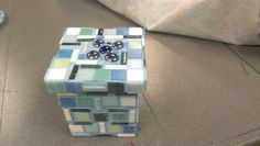 Mosaic box by Shelly McIntosh. Glass tiles.