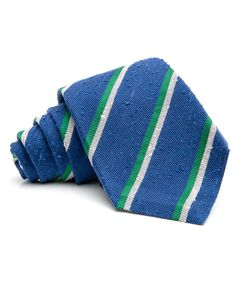 Kiton Blue with Green Stripe Tie  	59