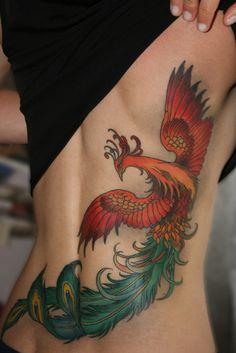 My lovely colorful semi firebird semi phoenix tattoo