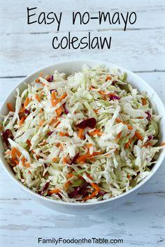 Easy no-mayo coleslaw   FamilyFoodontheTable.com