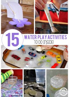 15 Creative Indoor Water Play Ideas You don't have to wait for summer to enjoy water play. We're showing you how to splash around inside! Grab a few towels and get ready for your kids eyes to light up Water Play Activities, Indoor Activities, Craft Activities For Kids, Kindergarten Activities, Summer Activities, Projects For Kids, Preschool Activities, Crafts For Kids, Water Games
