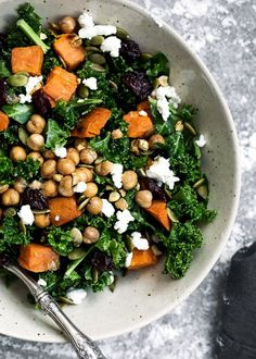 Kale Salad with Roasted Sweet Potato, Dried Cherries, Feta & Pepitas (would be great with goat cheese and grilled chicken breasts)