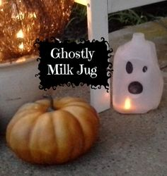Make this adorable Ghost from a Milk Jug to scare up some Halloween fun. Items Needed- Plastic Milk Jug Black Sharpie Marker Scissors String of white lights or battery operated candle This craft is...