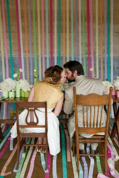 Rainbow + Bowtie WeddingIdeas - Blog - RENT MY DUST Vintage Rentals, mismatched chairs