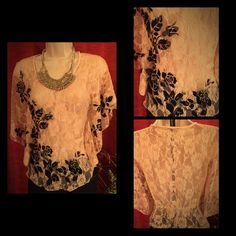 Jeweled lace batwing top Tag has been removed. Peachy pink lace top. No tears in lace. It's a 14 1/2  from side to side Has some stretch but isn't meant to be a tight fit. Cinched at waist. Tops Blouses