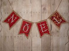Noel burlap banner gold and red Christmas by ThePartyOrchard