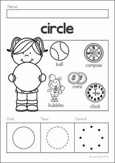 Preschool, Kindergarten, Back to School No Prep Worksheets and Activities. A page from the unit: shapes color, trace and connect the dots
