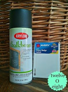How To Make Chalkboard Labels - easy!! Name badge labels and chalkboard spray paint.