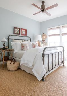 Blue Bedroom Bedroom American Coastal Cottage Farmhouse Rustic Shingle Style Transitional by Matthew Caughy