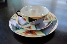 Asian Japanese Lusterware Geometric Art Deco by KWandCompany, $18.00