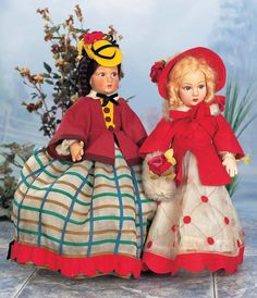 View Catalog Item - Theriault's Antique Doll Auctions Italian Cloth Character Doll by Lenci in Fancy Yellow Felt Bonnet