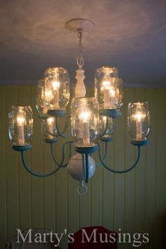 DIY Mason Jar Chandelier from Marty's Musings ~ really good tutorial with lots of instructions and photos